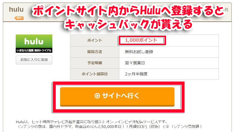 大手ポイントサイトの「ちょびリッチ」からHuluへ登録するとキャッシュバック1000ポイントが貰える