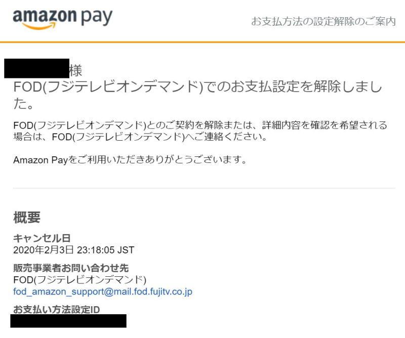 FOD解約後はAmazonペイからメールが届く