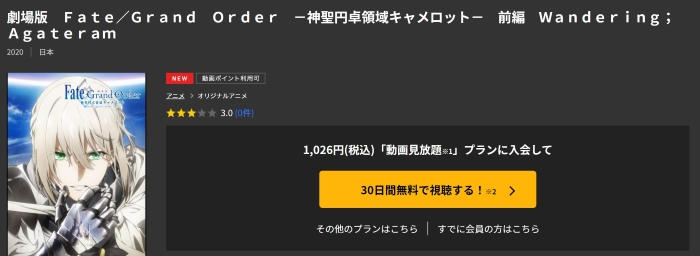 TSUTAYA TVで「Fate Grand Order神聖円卓領域キャメロット 前編」が見放題作品&お試し登録期間なら無料視聴が可能